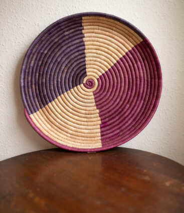Large Handwoven Rattan Tray In Purple