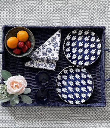 Large Handwoven Blue Rattan Tray